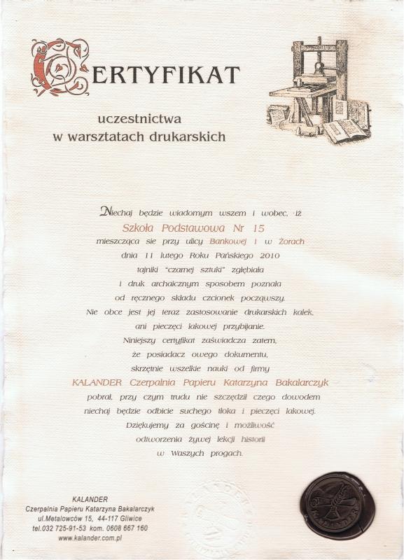 Certyfikat Warsztatów Drukarskich