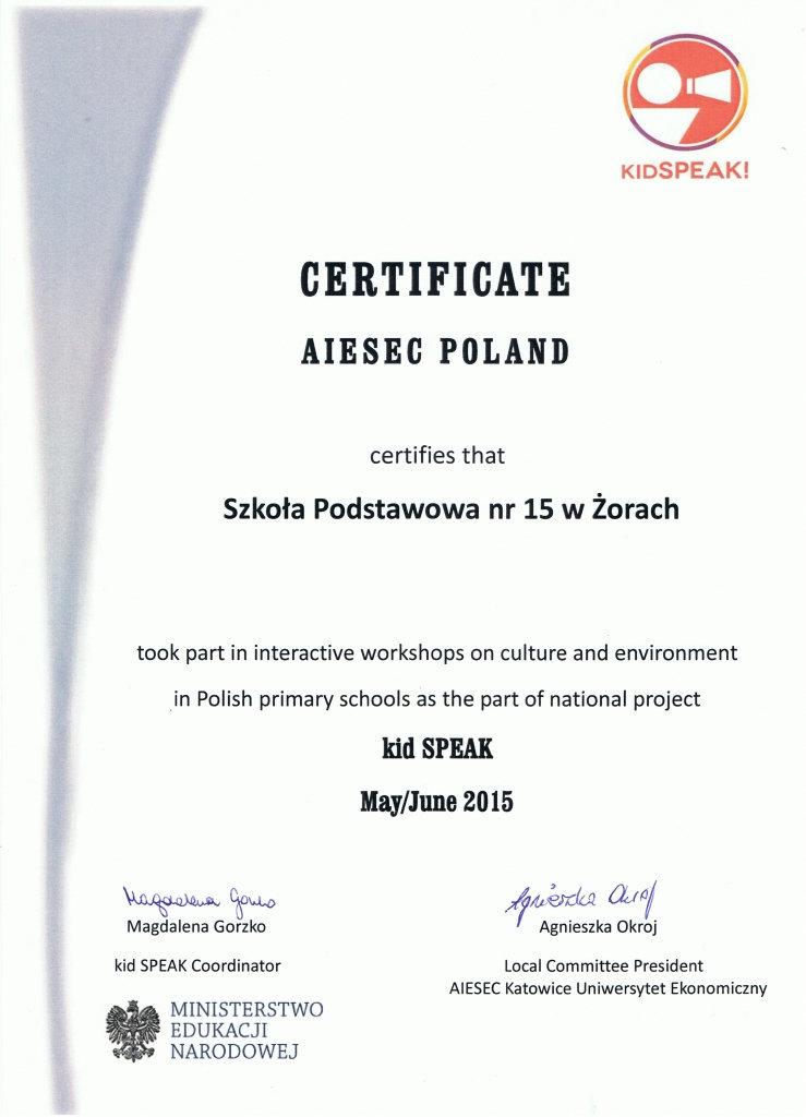 CERTIFICATE AIESEC POLAND