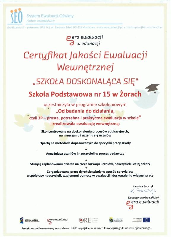 Certyfikat Jakości Ewaluacji Wewnętrznej