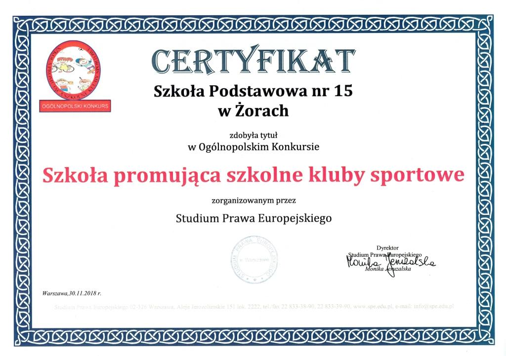 Szkoła promująca szkolne kluby sportowe